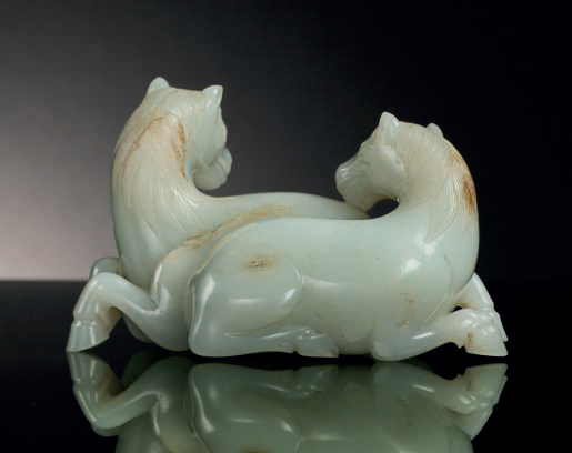Jade carving of two horses Qing (1644:1911) ©Christie's NY