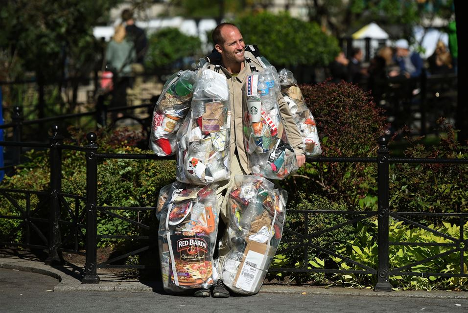 rob greenfield founder of the food waste fiasco suit made of garbage he generates in one month oct14:16 nyc ©timothy A.Claryafp